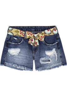 Shorts Jeans Feminino Que Acompanha Cinto Estampado
