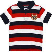 e0fe41582 Camisa Polo Tommy Hilfiger Kids Menino Listrado Azul-Marinho