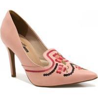 8f7547fab Sapato Zariff Shoes Scarpin Bordado - Feminino-Nude
