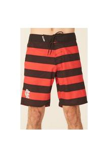 Boardshort Hd Listrado Collab Flamengo Oficial Vermelho Com Preto