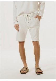 Bermuda De Sarja Com Cadarço - Kg2Kn10Si3 Masculina - Masculino-Off White