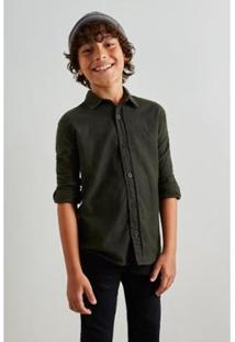 Camisa Infantil Mini Pf Pied Poule Color Reserva Mini Masculina - Masculino-Verde Escuro