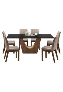 Sala De Jantar Madesa Olivia Mesa Tampo De Madeira Com 6 Cadeiras Preta/Bege