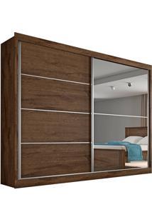 Guarda Roupa Casal Flex 2 Portas Com Espelho Verona Plus– Made Marcs - Brauna / Off White / Brauna