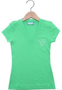 Camiseta Colcci Fun Manga Curta Menina Verde