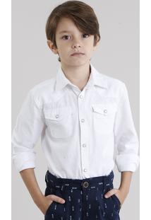 Camisa Infantil Botonê Manga Longa Off White