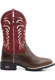 Bota Texana Crazy Horse Fossil Vinho Sangue 098 - Masculino-Marrom+Vinho