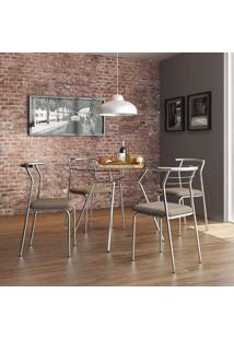 Mesa 1527 Vidro Incolor Cromada Com 4 Cadeiras 1708 Camurça Conhaque Carraro