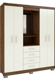 Guarda-Roupa Com Espelho Casal Primacy 4 Pt 4 Gv Off White E Capuccino