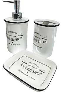 Jogo Para Banheiro Barber Shop- Branco & Preto- 3Pçsurban