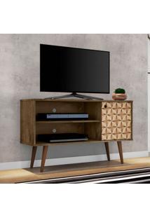 Rack Para Tv Até 42 Polegadas Jade Madeira Rústica E Madeira 3D