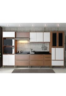 Cozinha Completa Multimã³Veis Com 7 Peã§As Calã¡Bria 5450 Nogueira/Branco - Incolor/Marrom - Dafiti
