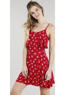 3242aacd0 CEA. Vestido Feminino Curto Evasê Estampado Floral Com Sobreposição Alça  Fina Vermelho