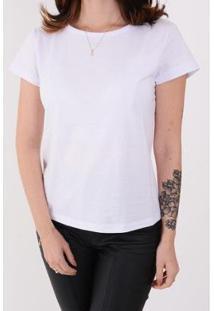 Camiseta Lejan Básica Algodão Feminina - Feminino-Branco