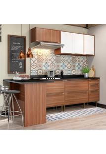 Cozinha Compacta Calábria Com Tampo 7 Portas Nogueira/Branco - Multimóveis