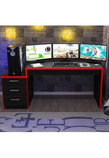Mesa Para Computador Desk Gamer Drx 6000 Siena Móveis Preto/Vermelho