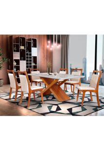 Conjunto De Mesa De Jantar Alice Com 6 Cadeiras Ane Linho Imbuia