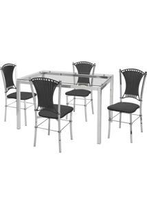 Conjunto De Mesa Com 4 Cadeiras Natália Corino Preto E Cromado