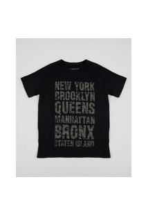 Camiseta Juvenil New York Camuflada Manga Curta Preta