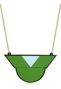 Colar Le Diamond Geométrico Feminino - Feminino-Verde