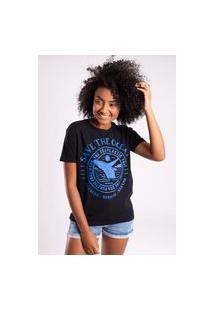 Camiseta Bossa Brasil Save The Ocean Preto