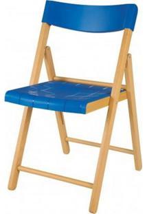 Cadeira Potenza Dobravel Natural Com Plastico Azul - 20645 - Sun House