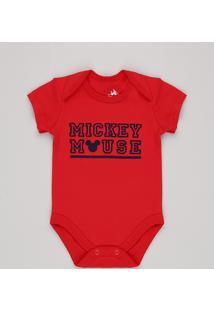 Body Infantil Mickey Mouse Manga Curta Vermelho