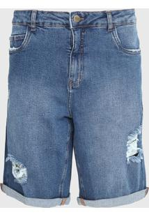Bermuda Jeans Dzarm Reta Destroyed Azul - Azul - Masculino - Algodã£O - Dafiti