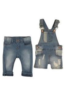 Kit Jardineira E Calça Jeans Mabu Denim Masculino