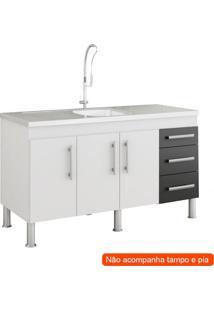 Balcão De Cozinha Flex 3 Pt 3 Gv Branco E Preto