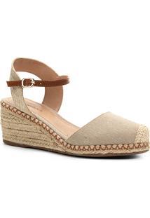 64806d18ff Sandália Anabela Shoestock Corda Lona Feminina - Feminino-Bege