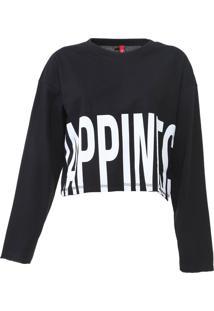Camiseta Cropped Coca-Cola Jeans Happines Preta