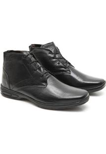Bota Social Prime Shoes Cano Alto Masculino - Masculino-Preto