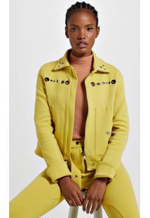 Jaqueta De Malha Estruturada Amarela Com Ilhós Amarelo Yoko - P