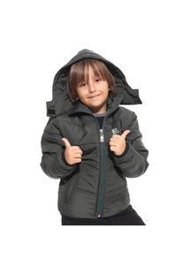 Jaqueta Vida Marinha Forrada Infantil Verde Militar