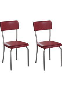Conjunto Com 2 Cadeiras Mackay Vinho E Cromado