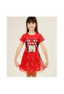 Vestido Infantil Minnie Tule Disney Tam 4 A 10