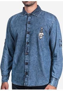 Camisa Jeans Estonada Patch 200101