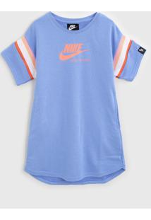 Vestido Nike Infantil Listras Azul/Laranja