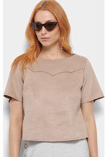 Camiseta Camurça Dimy Feminina - Feminino-Bege