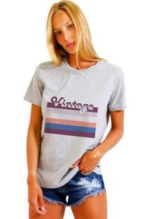 Camiseta Joss Feminina Vintage Cinza