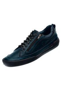 Sapato Em Couro Hayabusa Z Azul Marinho Solado Preto