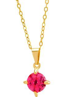 Gargantilha Horus Import Ponto Luz Rosa Banhada Ouro Amarelo 18 K - 1061105