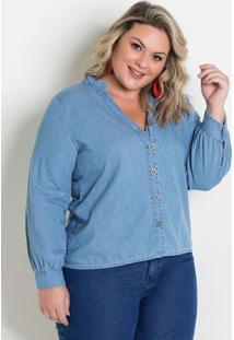 Camisa Jeans Com Mangas Bufantes Plus Size
