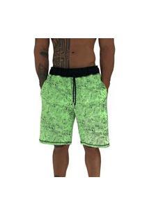 Bermuda Masculina Alto Conceito Moletom Limitado Verde Corroído