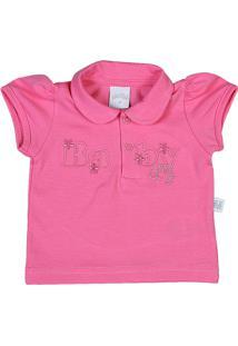 Camiseta Ano Zero Bebê Pólo Malha Cotton Baby -Rosa G