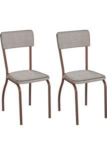 Conjunto Com 2 Cadeiras Nowra Palha E Cobre
