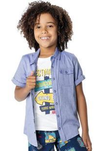 Camisa Azul Tradicional Com Bolsos Malwee Kids