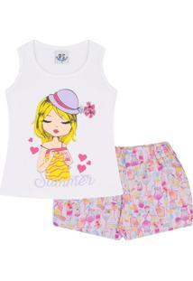 Conjunto Infantil Regata Summer Em Meia Malha E Shorts Estampado Feminino - Feminino
