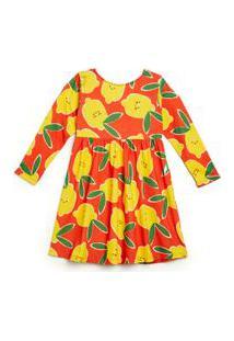 Vestido Infantil Fábula Em Malha De Algodão Com Estampa Limonada Est Limonada Laranja Papaya - 2
